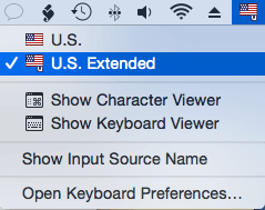 Keyboard layout selection: U.S. Extended