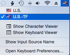 Keyboard layout selection: U.S.-TF