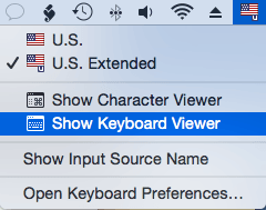 Input menu: Show Keyboard Viewer
