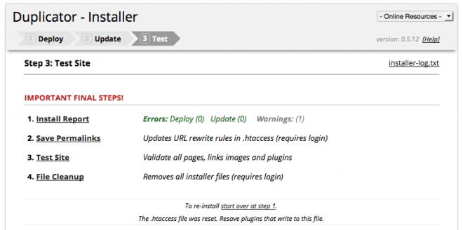 Duplicator: final steps