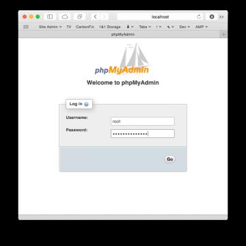 phpMyAdmin login window