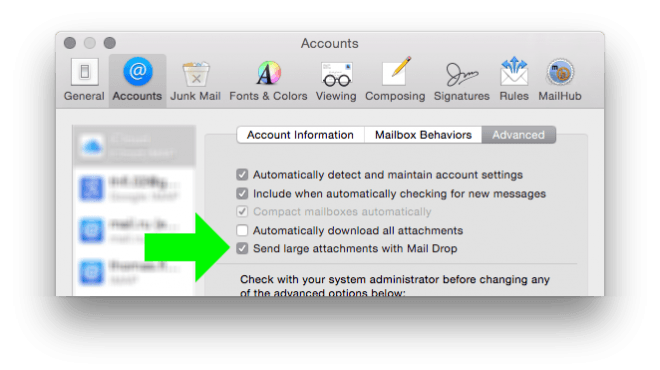 Mail Drop check box in Mail's preferences