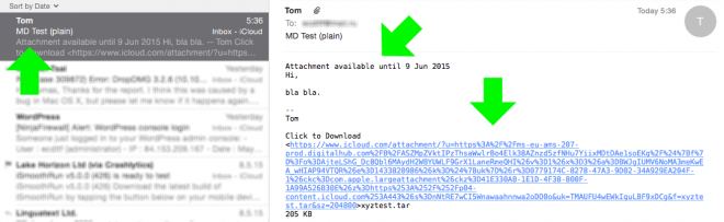 Received plain-text mail with Mail Drop attachment