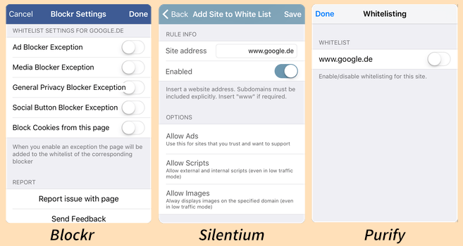 iOS 9 content blockers: settings extensions
