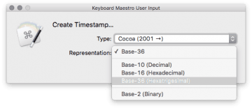 Timestamp creator encoding selection