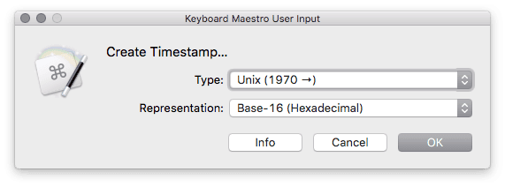 Timestamp creator user prompt